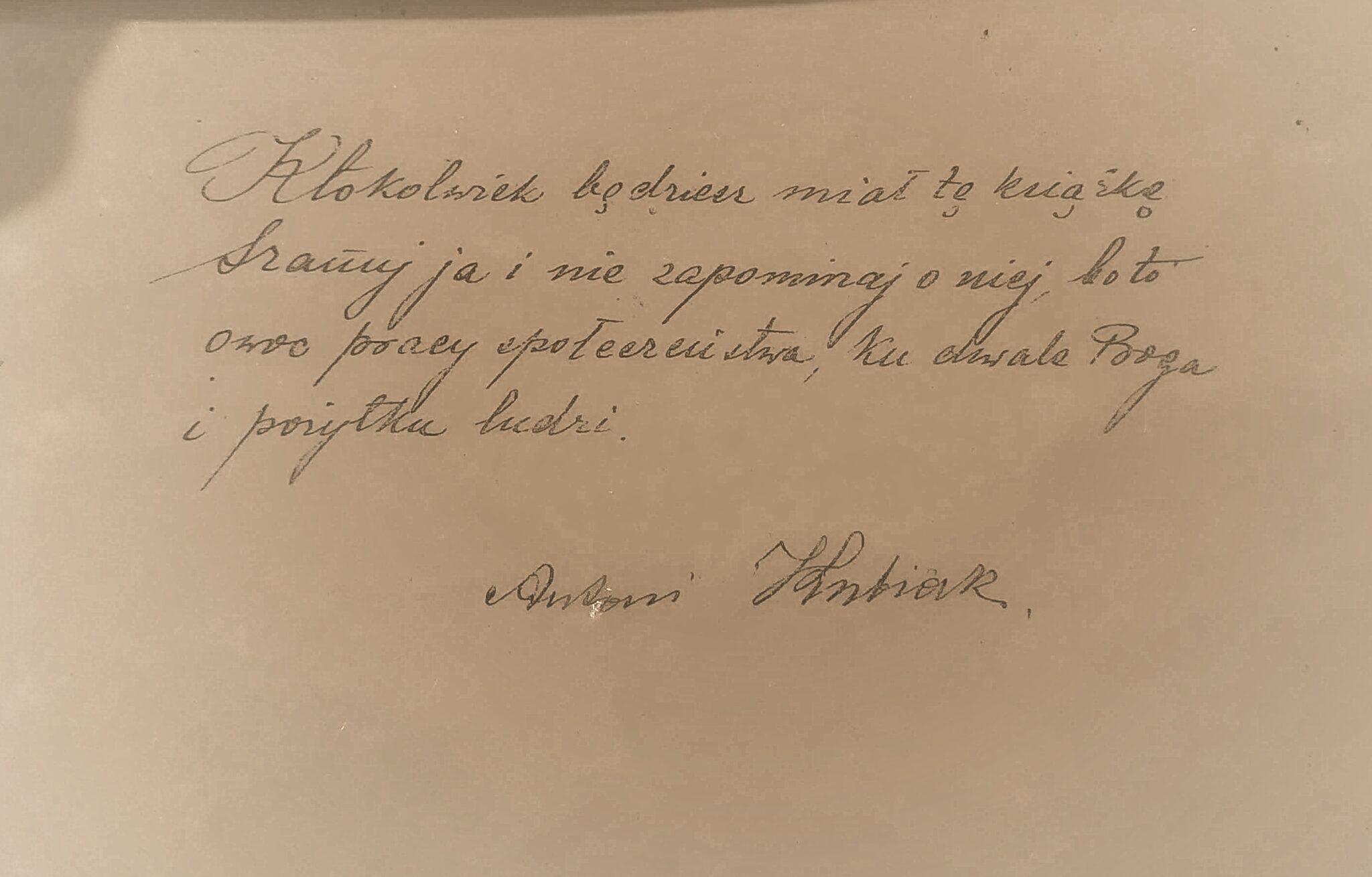 Podpis Antoni Kubiak - 21.02.1935. Z archiwum Orkiestry Dętej w Górze Św. Małgorzaty